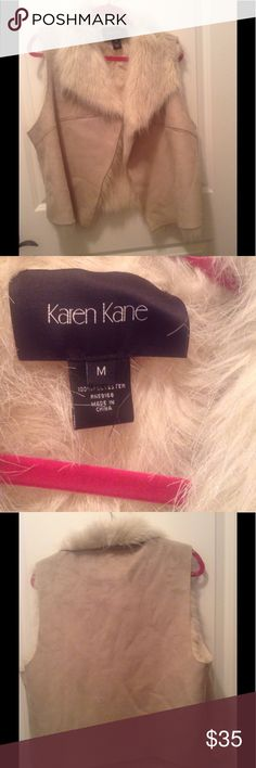 Faux suede furry fashion vest ❤️ Versatile beautiful on, beige.minor signs of wear.no trades.❗️Some pre loved items have disclosed flaws as noted and pics added. Were in storage and may need to be re cleaned.Please buy knowing that any marks  may not come out or may need a repair❗️ Karen Kane Jackets & Coats Vests