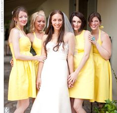 short yellow bridesmaid dresses. not sure if i'm digging the shade of yellow, though...