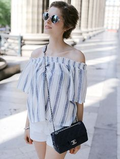 striped-blouse-off-the-shoulder-chanel-bag-white-shorts