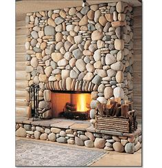 River Rock Fireplaces, Rustic Fireplaces, Home Fireplace, Modern Fireplace, Fireplace Design, Stone Fireplaces, Mosaic Fireplace, Fireplace Ideas, Log Homes