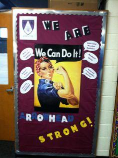 Houses - House of Fierce Courage hallway bulletin board. Arrowhead Strong!