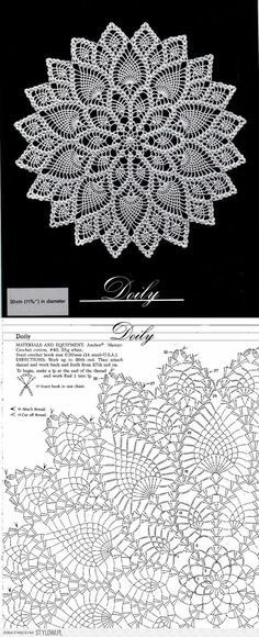Crochet patterns diagram crocheted round doily with lace katharina bernklau bernklau deck Free Crochet Doily Patterns, Crochet Doily Diagram, Lace Knitting Patterns, Crochet Circles, Crochet Mandala, Crochet Round, Crochet Chart, Thread Crochet, Crochet Motif