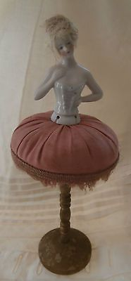 """Antique German Half Doll Unusual Pin Cushion Wooden Stand Base 10"""""""