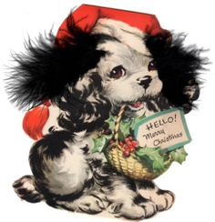 vintage christmas 50's Inky the Dog feathered ears Christmas Pup Inky XMAS