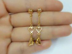 Gold Earrings For Kids, Gold Bridal Earrings, Girls Earrings, Simple Earrings, Hoop Earrings, Latest Earrings Design, Jewelry Design Earrings, Gold Earrings Designs, Gold Bangles Design