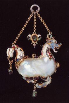 "Flemish manufacture. Pendant in the form of a marine animal in gold, enamel, precious pearl piettre, Scaramazza, 16th century, via Christie""s Geneva."