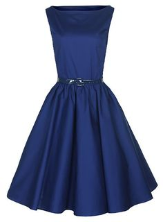 Lindy Bop Classy Vintage Audrey Hepburn Style 1950's Rockabilly Swing Evening Dress (XS, Midnight Blue)