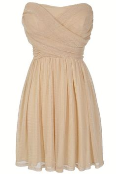 @Christine Kaminsky  @Megan Katsch  this one is pretty... Dress To Impress Strapless Mesh Dress in Cream Shimmer