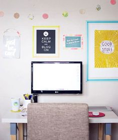 Framed inspiration decor for home office design.