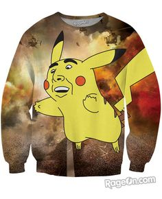 138d17f507a9d Nic Cage Pikachu Crewneck Sweatshirt - RageOn! - The World s Largest  All-Over-