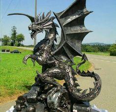 Dragon made from scrap metal
