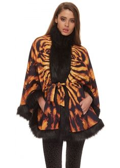 Genese Tiger Print Cape from Designer Desirables
