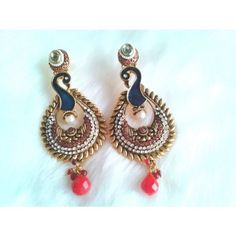 PEACOCK ON THE ROCKS MAJESTIC RAJWADA EARRING PAIR WITH RUBY DROPS & POLKI WORK