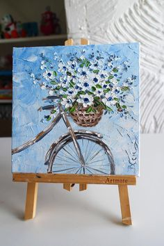 Floral oil painting original, basket with flowers on the bike, Oil painting flower, mini floral painting, Bouquet painting palette knife - Stickerei Ideen Cute Canvas Paintings, Small Canvas Art, Mini Canvas Art, Acrylic Painting Canvas, Acrylic Art, Canvas Frame, 3 Canvas Painting Ideas, Art Painting Tools, Painting Lessons