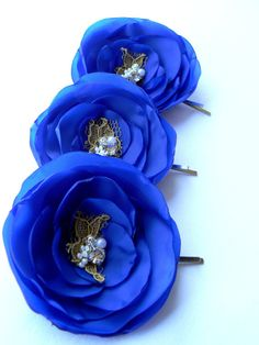 *Royal blue wedding flower hair clips (or to be used on garter?)