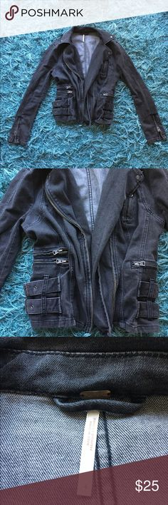 Free People Denim Jacket Ugh love this jacket. sad to let it go. Very flattering, zippers as decoration. Gray denim jacket Free People Jackets & Coats Jean Jackets
