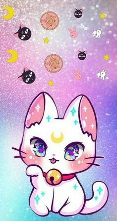 Ran on the lines – That is how woman Leinen styles properly – Pregnancyx. Cute Kawaii Animals, Cute Animal Drawings Kawaii, Cute Easy Drawings, Kawaii Cat, Kawaii Anime, Sailor Moon Cat, Arte Sailor Moon, Sailor Moon Wallpaper, Kawaii Doodles
