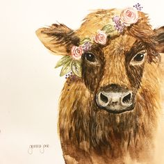 Rosie, the cow with the flower crown. Watercolor painting. By Gemma Jane Art. Follow on Instagram @gemma.jane.art and Facebook. Gemma Jane.