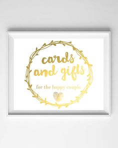 Cards and Gifts Printable-Gold Wedding Digital Download-Calligraphy Sign from paper and palette