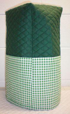 Hunter Green Quilted Green & White Checked Cover for Ninja 1000 Watt Pro Blender w/4 Pockets