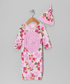 Dark Pink Romance Gown & Single-Knot Beanie - Infant by Baby Nay on #zulily