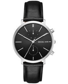 Michael Kors Men's Chronograph Jaryn Black Leather Strap Watch 42mm MK8539