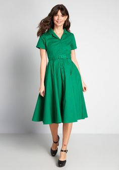 ModCloth x Collectif Cherished Past Swing Dress - Possess the fashionable finesse of the past while decked out in this green swing dress. Cuffed short sleeves, button closures, a self belt, and side pockets of this stretch-cotton midi from our ModCloth-Collectif collab pay tribute to your deep love of throwback style.