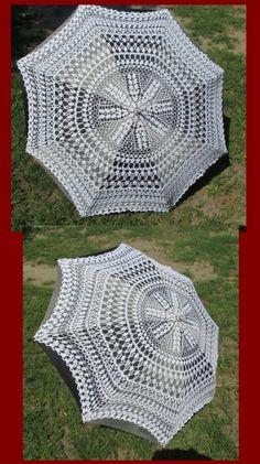 Crochet Fabric, Crochet Doilies, Crochet Lace, Free Crochet, Crochet Patterns, Lace Umbrella, Lace Parasol, Cool Umbrellas, Umbrellas Parasols