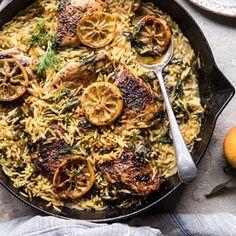 One Skillet Lemon Butter Chicken and Orzo | halfbakedharvest.com #chicken #recipes #easy #skillet