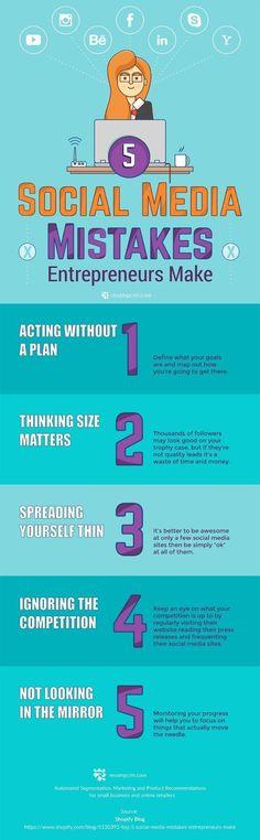 Top 5 Social Media Mistakes Entrepreneurs Make (That You Should Avoid) - infographic