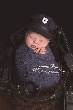 Little police hats are back in stock! Ready to ship for your next little officer! Adorable photo by Capturing Forever Photography Newborn clothing photography props Newborn Bebe, Newborn Shoot, Newborn Outfits, Baby Boy Newborn, Newborn Clothing, Newborn Pictures, Baby Pictures, Newborn Pics, Family Pictures