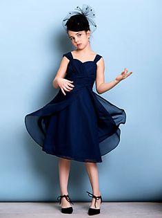 Misdress girls fashion a-line short chiffon pageant bridesmaid dresses