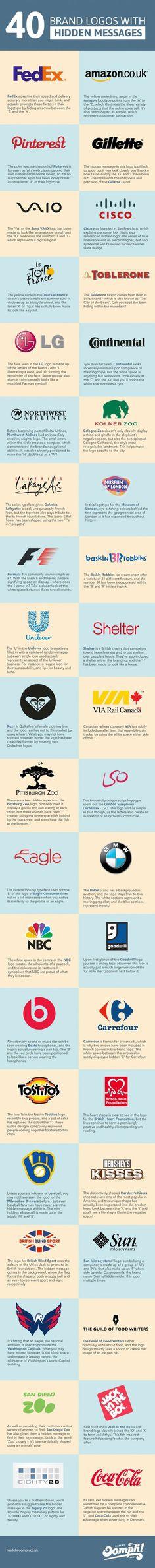 O assunto nao é novidade mas sempre volta à tona – os logos com mensagens subliminares fazem sucesso, principalmente entre o pessoal do marketing, da publicidade e do design. A Oomph agora reuniu 40 desses logos em um infográfico, explicando brevemente a história por trás de cada um deles. Dos clássicos Fedex e Carrefour a …