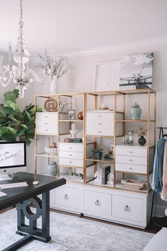 Mar 23, 2020 - A beautiful black and gold home office that's perfectly organized. #homedecor #interiordesign #office #architecture #organization