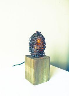 Industrial Wood & Metal Wire Lamp