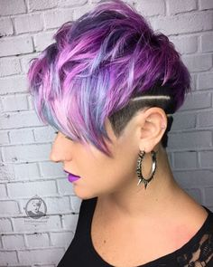 WEBSTA @ bottleblonde76 - I love this cut and color that my guest asked for. She rocks her style and I was totally influenced by her vision for herself. So proud of this pic. @pulpriothair #pulpriothair @b3 @brazilianbondbuilder #brazilianbondbuilder @purple.hair.affair #purplehairaffair @alexisbutterflyloft