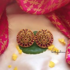 Check out this pretty traditional kemp stud earrings by the brand kirthi fashions. Gold Jhumka Earrings, Jewelry Design Earrings, Gold Earrings Designs, Gold Jewellery Design, Stud Earrings, Designer Bangles, Designer Jewellery, Earring Studs, Ear Studs