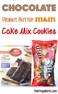 Chocolate Peanut Butter M&M Cake Mix Cookie Recipe! ~ just 4 ingredients and you're on your way to some of the BEST cookies ever! Cake Mix Cookie Recipes, Cake Mix Cookies, Yummy Cookies, Cake Mixes, Cake Recipes, Sandwich Cookies, Super Cookies, Butter Cupcakes, Banana Cupcakes