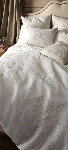 White embroidered linens | Paris, Prada, Pearls, Perfume