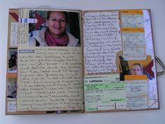 Aus eigener Erfahrung weiß ich, wie schnell man die netten Kleinigkeiten einer Reise vergessen kann, ganz zu schweigen von den gesammelten Mitbringseln wie Eintrittskarten, Kassenbons, Prospekten, Restaurantkarten u.s.w. . Bei meiner letztem letzten USA-Besuch begleitete mich dieses Reise-Journal, ich hatte es nach einer Anregung in der Zeitschrift Scrapbook Answers gefertigt : Vorderseite Rückseite : Das Journal ist ganz einfach aus DIN A 4 Versandtaschen zu binden und hat gegenüber…
