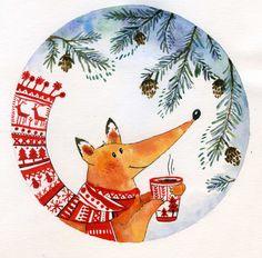 Love the warm - cool balance Fuchs Illustration, New Year Illustration, Winter Illustration, Christmas Illustration, Cute Illustration, Watercolor Illustration, Watercolor Art, Christmas Drawing, Christmas Art