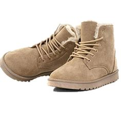 YH Women's Winter Warm Snow Boots Lace up Short Ankle Boots Beige Sole thickness Boots circumference Boots height Inside material: imported long villus. Keep warm in Minus 10 degrees. Ankle Snow Boots, Short Ankle Boots, Warm Snow Boots, Ankle Booties, Black Boots, Buy Boots Online, Winter Shoes, Shoe Boots, Shoes Heels