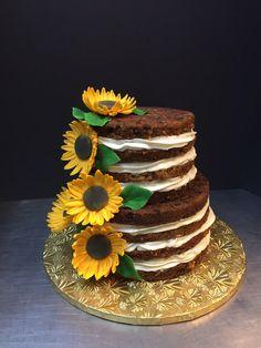 Naked sunflower cake