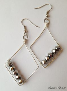 Gray Diamond Shape Wire Wrap Earrings with Crystals in Hooks, Posts, Lever backs or Clip ons, Free Shipping anywhere in the USA