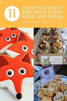 11 food and drink ideas for a Gruffalo first birthday party. Make sure you have scrambled snake and poisonous warts at your Gruffalo party! Twin Birthday Cakes, First Birthday Party Themes, Birthday Ideas, Bear Birthday, 4th Birthday, Healthy Party Snacks, Party Food And Drinks, Gruffalo Party, Food Themes