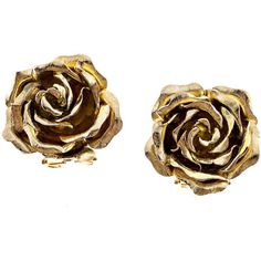 Preowned Tiffany & Co. Green Gold 3-d Clip Post Flower Earrings (6,070 CAD) ❤ liked on Polyvore featuring jewelry, earrings, accessories, brincos, roses, green, rose earrings, yellow gold earrings, 18k gold jewelry and rose gold earrings