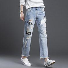 Nouvelle arrivée 2016 vintage ripped jeans pour femmes mode nouveau Trou  Droite Cheville Longueur Pantalon Numérique 38f867a5c135