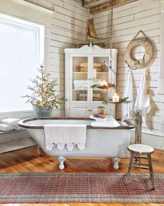 keeping it simple as possible for holiday decorating. Besides that I always dread taking everything back down and put away! It is a long way up to the attic to store it all. Cottage Bath, Cozy Cottage, Cottage Living, Relaxing Bathroom, Cottages And Bungalows, Shabby, Ship Lap Walls, Scandinavian Home, Beautiful Bathrooms
