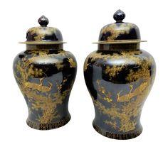 Famille Noire Porcelain Ginger Jars - A Pair on Chairish.com