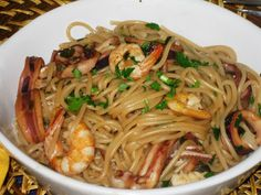 This Portuguese seafood spaghetti recipe makes a great meal for a weeknight dinner. Seafood Pasta Recipes, Spaghetti Recipes, Seafood Dishes, Pasta Dishes, Fish Recipes, Pasta Food, Kitchen Recipes, Cooking Recipes, Portuguese Recipes